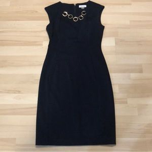 Calvin Klein Navy Blue Dress With Gold Necklace